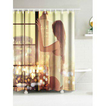 Waterproof Shower Curtain with Beautiful Girl Print