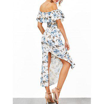 Off The Shoulder Flounce Floral Print Dress