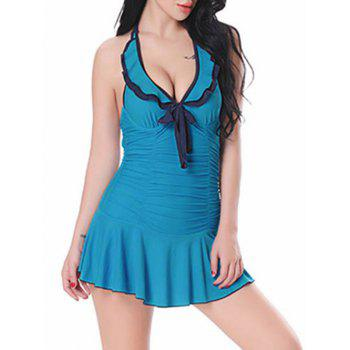 Halter Ruffle Ruched Skirted Swimsuit