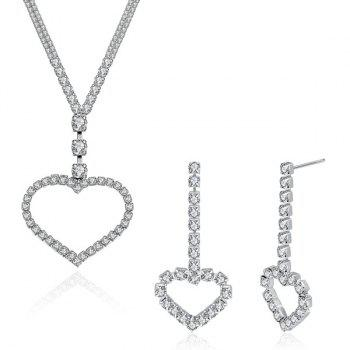 Rhinestoned Heart Pendant Necklace with Earrings