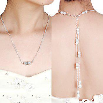 Artificial Pearl Rhinestone Pendant Backdrop Necklace