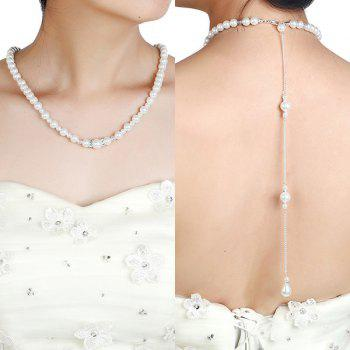 Rhinestone Artificial Pearl Beaded Backdrop Necklace