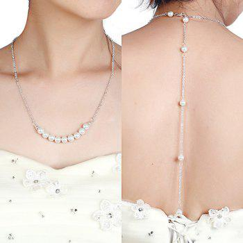 Faux Pearl Beaded Wedding Backdrop Necklace