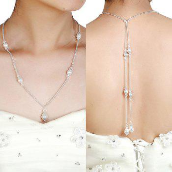 Rhinestone Artificial Pearl Teardrop Backdrop Necklace