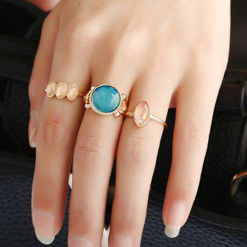 Artificial Gem Geometric Ring Set -  GOLDEN