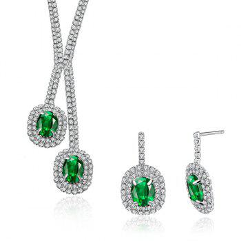 Artificial Emerald Rhinestone Oval Jewelry Set