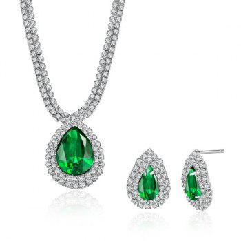 Artificial Emerald Rhinestone Teardrop Pendant Jewelry Set