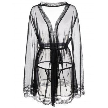 Plus Size Mesh See Thru Robe
