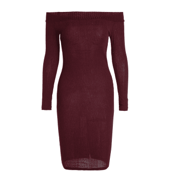 Off Shoulder Long Sleeve Bodycon Formal Dress - S S