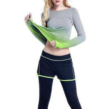 Running Ombre Yoga Long Sleeve Gym Top - GREEN GREEN
