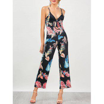 Plunge Foliage Print Backless Slip Jumpsuit