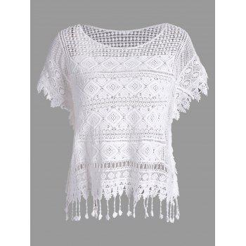 Dolman Sleeve Fringed Crochet Lace Blouse