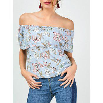 Off The Shoulder Ruffle Floral Top - LIGHT BLUE XL