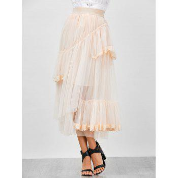 High Waisted Lace Insert Layer Mesh Skirt