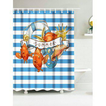 Polyester Stripe Nautical Shower Curtains with Anchor Print
