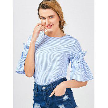 Bell Sleeve Striped Ruffle Blouse - BLUE STRIPE BLUE STRIPE