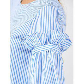 Bell Sleeve Striped Ruffle Blouse - BLUE STRIPE L