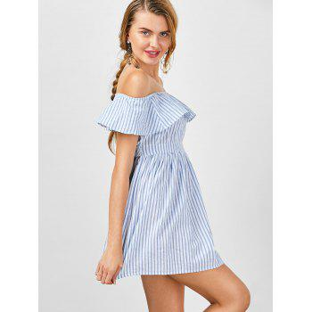 Striped Cut Out Off The Shoulder Cocktail Dress - STRIPE STRIPE