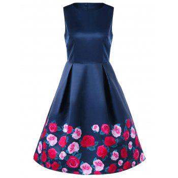 Sleeveless Floral 50s Dress