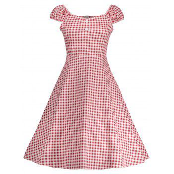 Vintage Gingham High Waisted A Line Dress