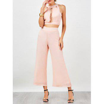 Criss Cross Sleeveless Cut Out Chiffon Suit