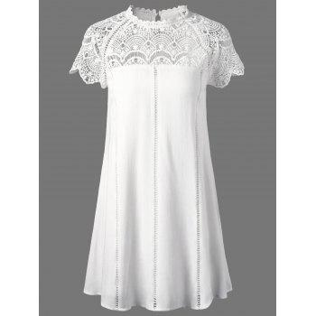 Lace Trim Openwork Insert Flapper Dress