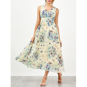 Empire Waist Butterfly Print Flowing Dress