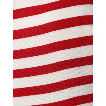 Halter American Flag Buttoned Vintage Dress - RED XL