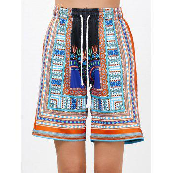 Bohemian Print Drawstring High Waisted Board Shorts