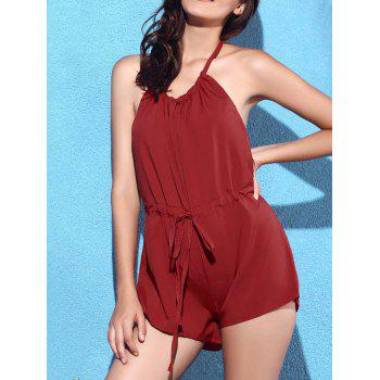 Sexy Halter Backless Solid Color Drawstring Romper For Women