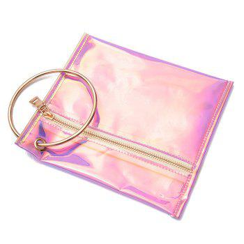Laser Transparent Metal Ring Clutch Bag