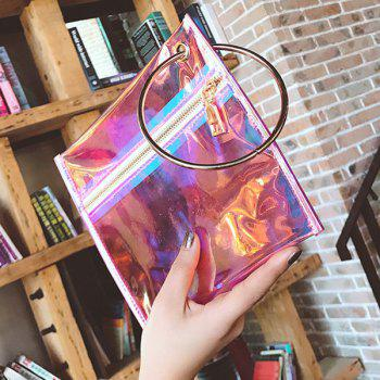 Laser Transparent Metal Ring Clutch Bag -  PINK