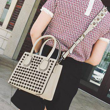 PU Leather Rivets Convertible Totes - Blanc