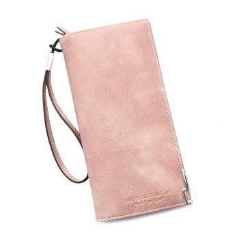 Bifold PU Leather Wristlet Wallet - PINK PINK