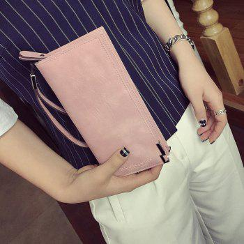Bifold PU Leather Wristlet Wallet -  PINK