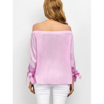 Off The Shoulder Split Sleeve String Blouse - PINK PINK