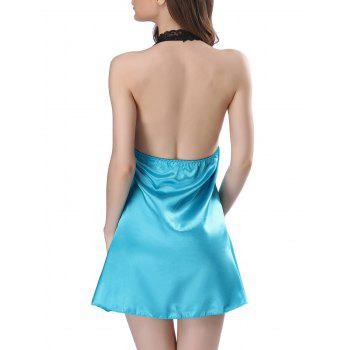 Halter Lace Insert Backless Satin Babydoll - BLUE S