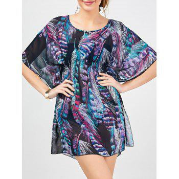 Feather Print Batwing Sleeve Cover-up Dress