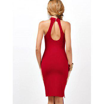 Criss Cross Sleeveless Backless Club Bodycon Dress - L L