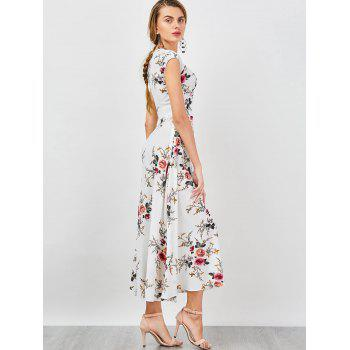 Empire Waist Tiny Floral Bohemian Dress - WHITE WHITE