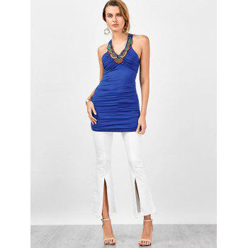 Embellished Ruched Criss Cross Longline Tank Top - ROYAL L