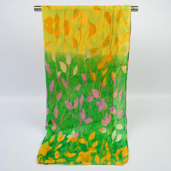 Gradient Color Chiffon Floral Printed Scarf - YELLOW / GREEN