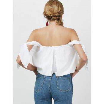 Off The Shoulder Bowknot Blouse - WHITE L