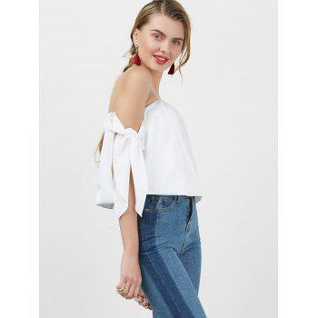 Off The Shoulder Bowknot Blouse - WHITE S