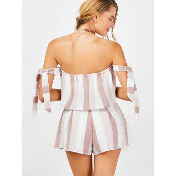 Strapless Stripe Crop Top and High Waisted Shorts - RED/WHITE M