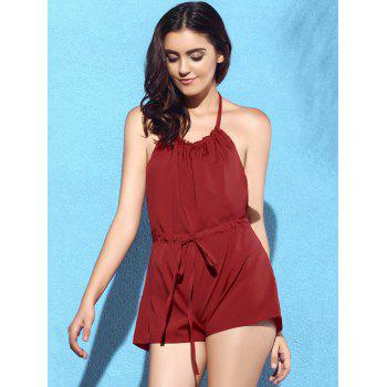 Sexy Halter Backless Solid Color Drawstring Romper For Women - RED XL