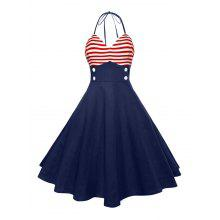 Halter American Flag Buttoned Vintage Dress