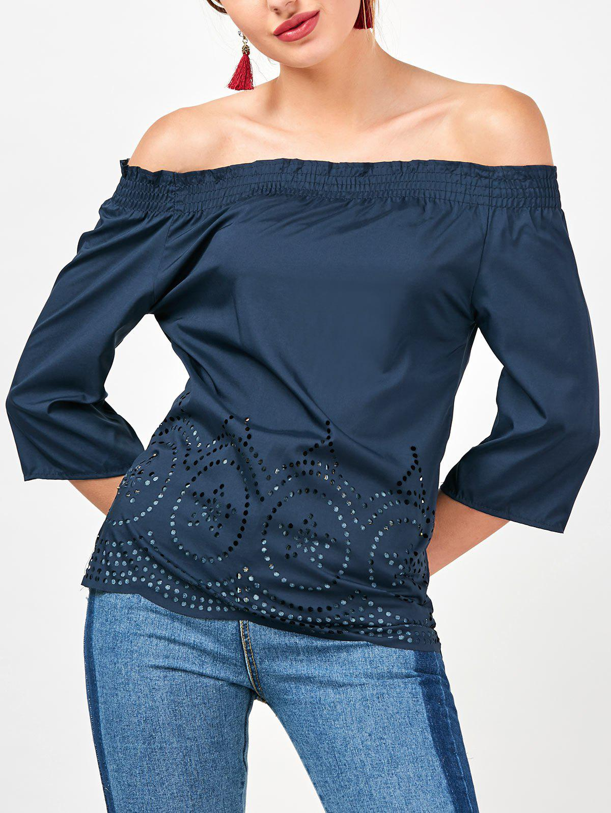 Off The Shoulder Ruffled Openwork Blouse - CADETBLUE L