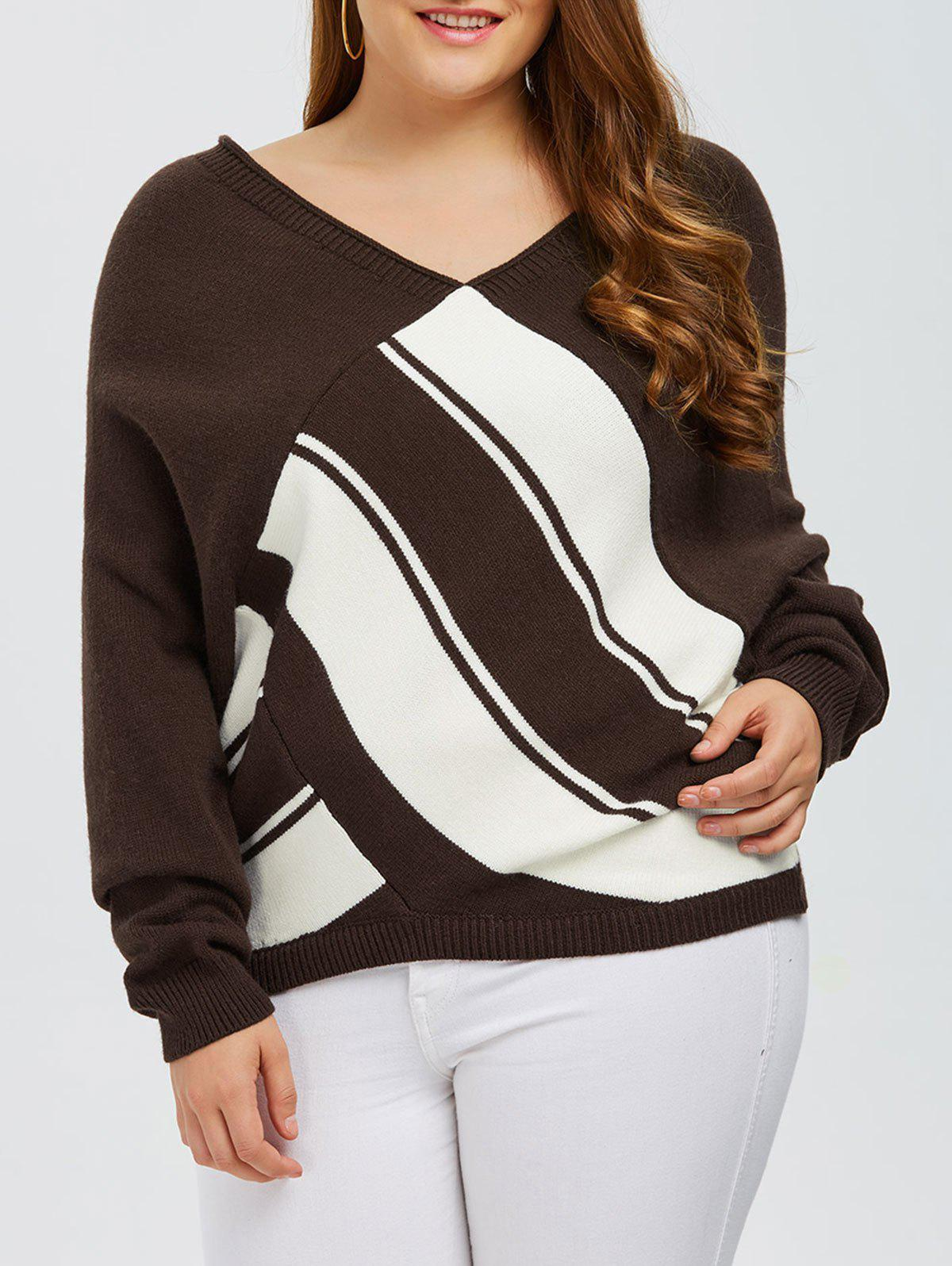 Plus Size V Neck Color Block Sweater ce link mini dp к vga мини displayport патч корд