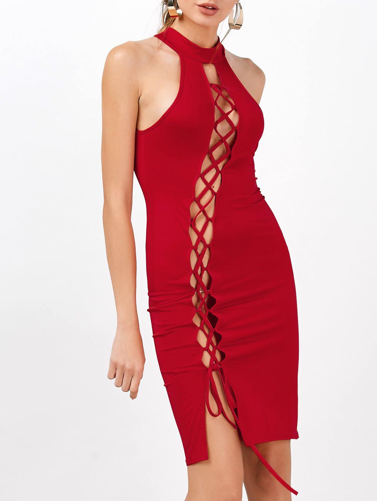 Criss Cross Sleeveless Backless Club Bodycon Dress - RED M